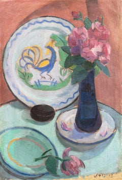 'Pink Roses with a Quimper Plate', Danish Post-Impressionist Still Life, Paris