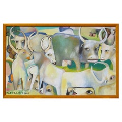 Jak Katarikawe East African Artist Water Buffalo Painting