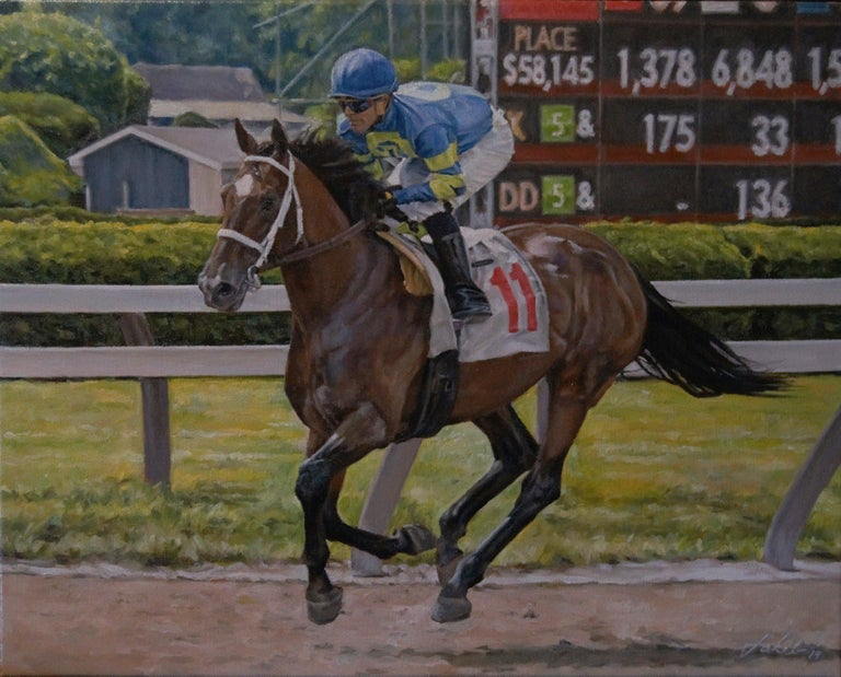 """This piece, """"Determination"""" is an oil painting on canvas. Focusing on the horse and rider, most likely at the Saratoga Racetrack in New York,  this oil painting catches the subjects in mid-action. The look and strength in the rider's face"""