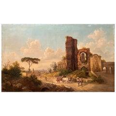 Jakob Alt Roman Landscape with Ruins and Figures