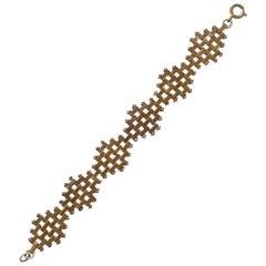 Jakob Bengel Art Deco Gold Tone Brickwork Link Bracelet circa 1930s