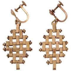 Jakob Bengel Art Deco Pale Copper Tone Brickwork Screw Back Drop Earrings 1930s