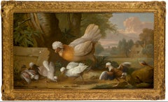 A concert of birds - A Hen, Chicks and a Chaffinch, with a landscape beyond