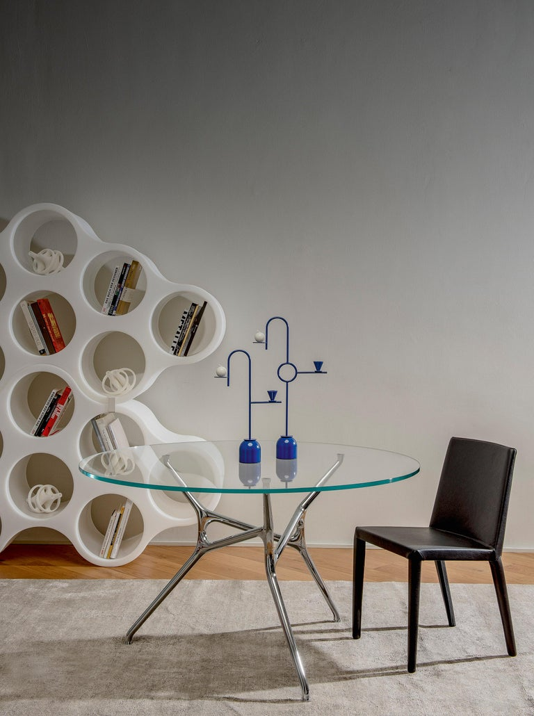 Modern Jakob Wagner Round Branch Table in Wood and Die-Cast Aluminum Base, Cappellini For Sale