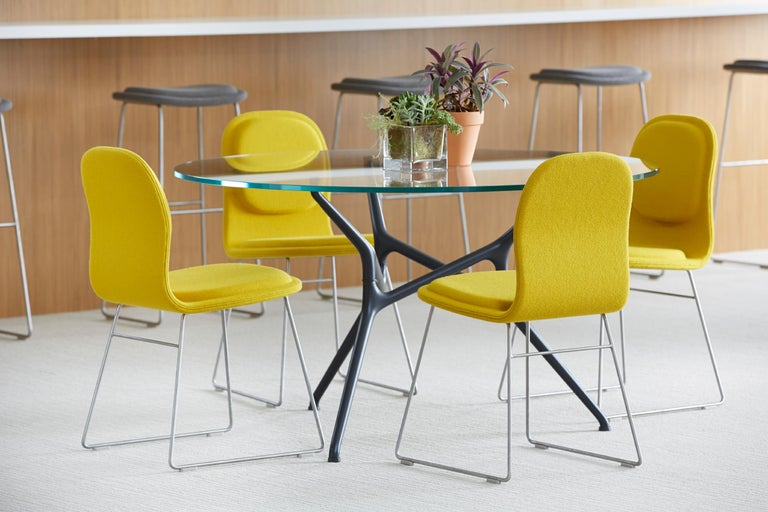 Jakob Wagner Round Branch Table in Wood and Die-Cast Aluminum Base, Cappellini For Sale 1
