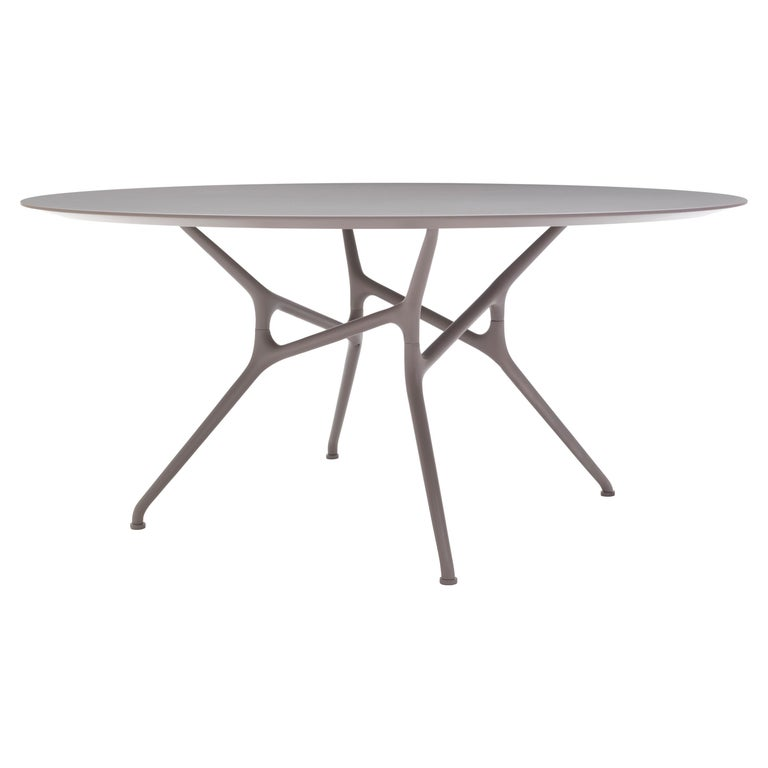 For Sale: Brown (71_Mud) Jakob Wagner Round Branch Table in Wood and Die-Cast Aluminum Base, Cappellini