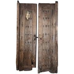 Jalisco Hacienda Handcrafted Old Rustic Door in Solid Mesquite Wood Mexico 1920s