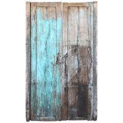 Jalisco Hacienda Rustic Door Green Splash on Solid Mesquite Wood Mexico 1920s