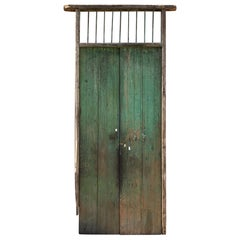 Jalisco Hacienda Old Rustic Green Barn Doors in Solid Slab Mesquite Wood Mexico