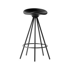 Jamaica All Black Counter Stool, Wood Seat