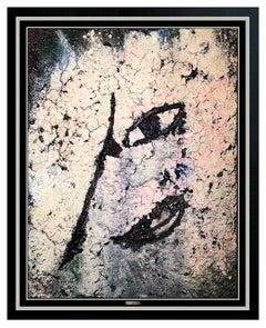 Jamali Original Fresco Tempura Contemporary Abstract Portrait Signed Framed Art