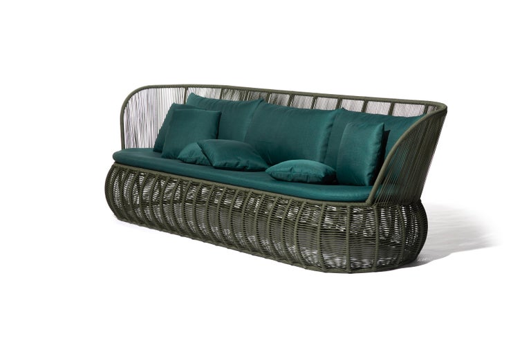 Materials: Aluminum, nautical rope, upholstery and fabric.  Dimensions: 210 cm wide x 88 cm deep x 82 cm high.