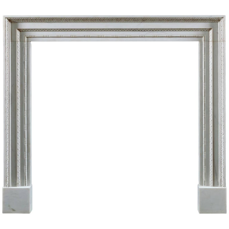 Jamb Ashley Fireplace in White Statuary Marble For Sale