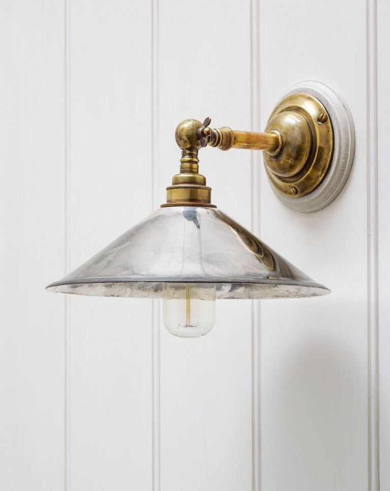 Cast Brooke Wall Light Sconce in Antique Brass & Bronze, USA Wired For Sale