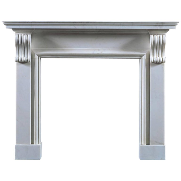 Jamb Burlington Fireplace in White Statuary Marble For Sale
