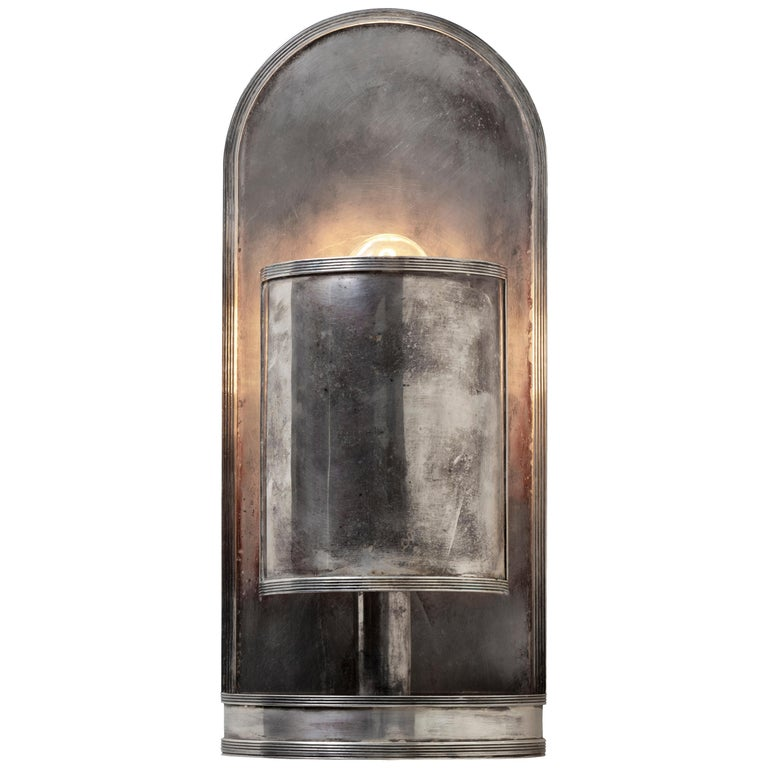 Florin Wall Light Sconce in Antique Silver, US Wired For Sale