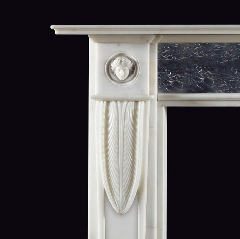 British Lichfield Regency Style Fireplace in White Statuary Marble For Sale