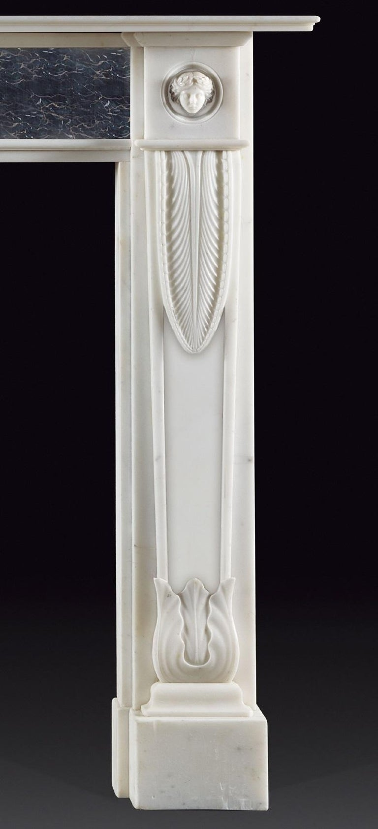 Carved Lichfield Regency Style Fireplace in White Statuary Marble For Sale