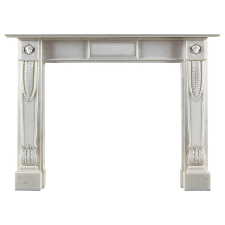 Lichfield Regency Style Fireplace in White Statuary Marble For Sale