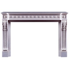 Jamb Louis XVI Style Antoinette Fireplace in White Statuary Marble