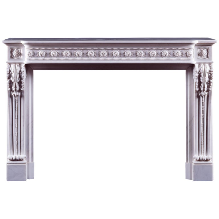 Jamb Louis XVI Style Antoinette Fireplace in White Statuary Marble For Sale