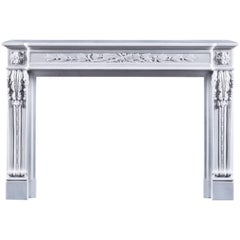 Jamb Louis XVI Style Lyon Fireplace in White Marble