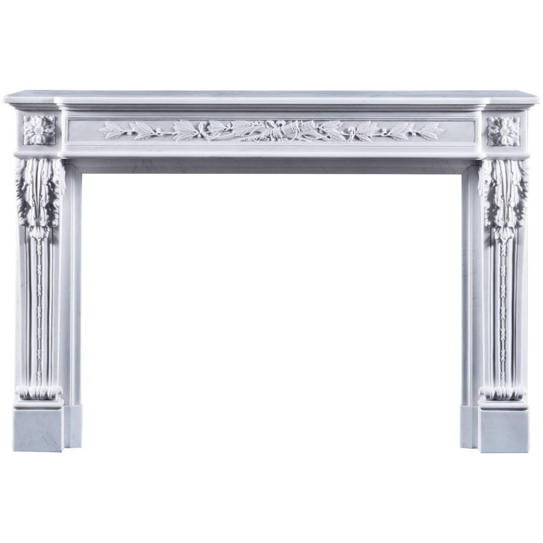 Jamb Louis XVI Style Lyon Fireplace in White Marble For Sale