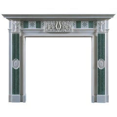 Jamb Merrion Fireplace in White Statuary Marble with Verde Antico Scagliola