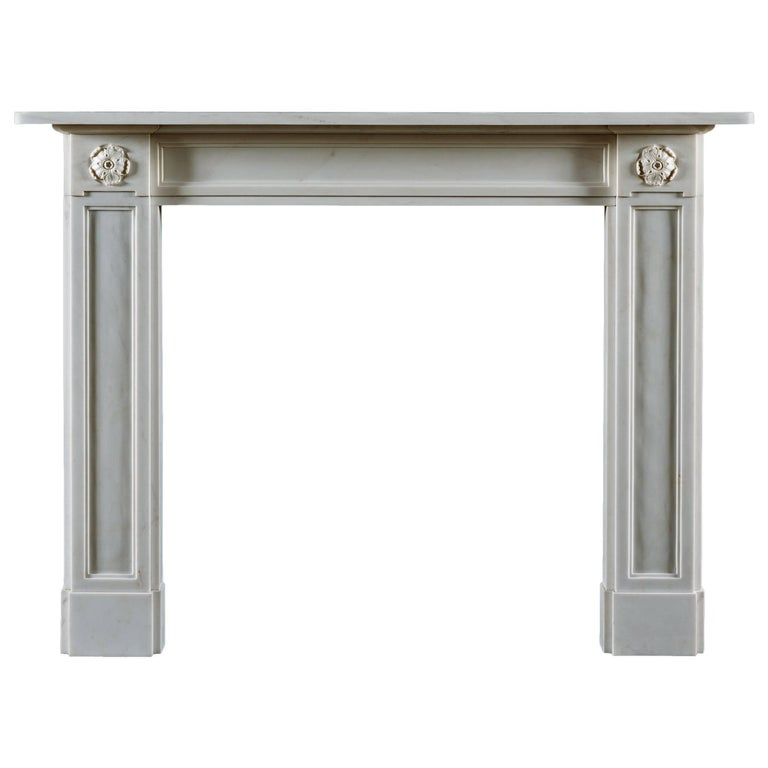 Jamb Regency Style Stanhope Fireplace in White Statuary Marble For Sale