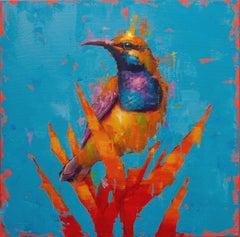 Olive backed sunbird No.1 - Oil painting by  English Artist Jamel Akib
