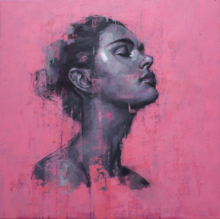 Portrait on Pink No.1 - Oil painting by  English Artist Jamel Akib - Painting by Jamel Akib