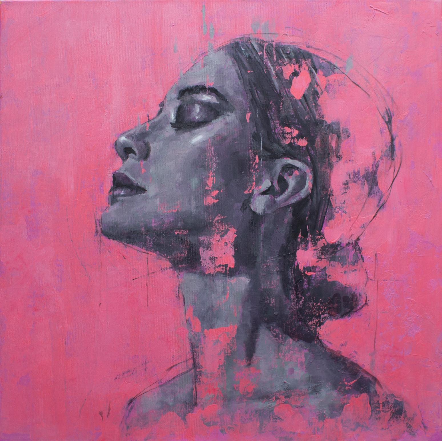 Portrait on Pink No.2 - Oil painting by  English Artist Jamel Akib