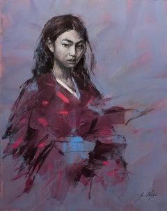 The Crimson & Black Kimono, Oil painting by British Artist Jamel Akib