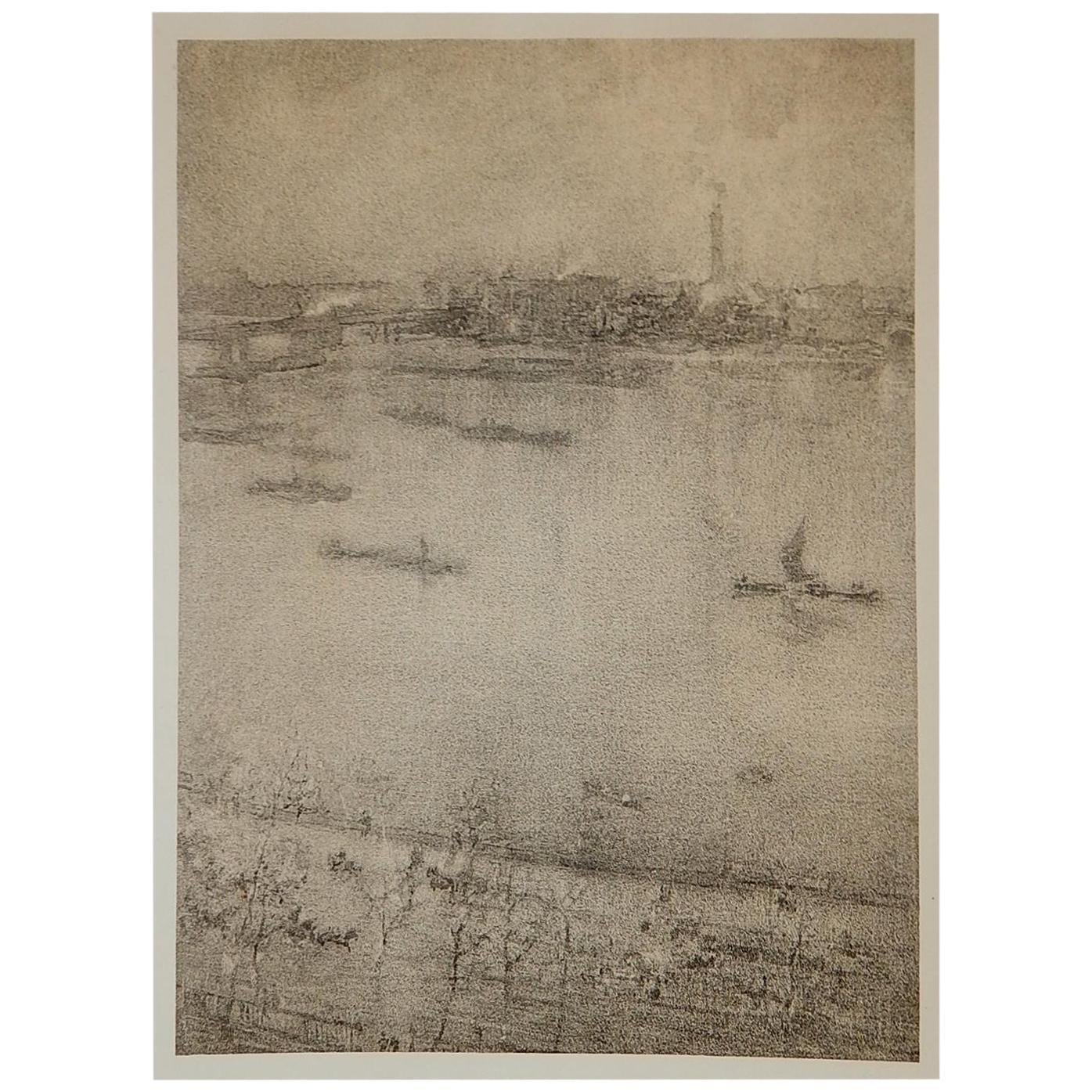 James Abbott McNeill Whister Lithotint, 1896, The Thames