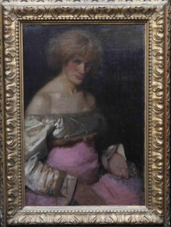 Lady in Pink - Victorian Impressionist art female portrait oil painting