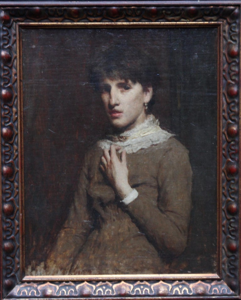 Portrait of a Young Woman with Lace Neckline - Scottish Victorian oil painting For Sale 7