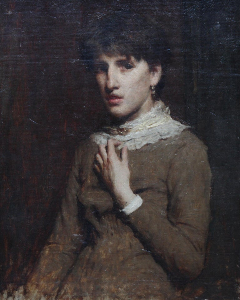 Portrait of a Young Woman with Lace Neckline - Scottish Victorian oil painting - Painting by James Abbott McNeill Whistler (circle)