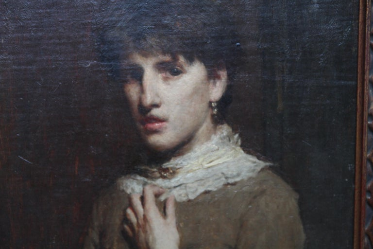 Portrait of a Young Woman with Lace Neckline - Scottish Victorian oil painting - Black Portrait Painting by James Abbott McNeill Whistler (circle)