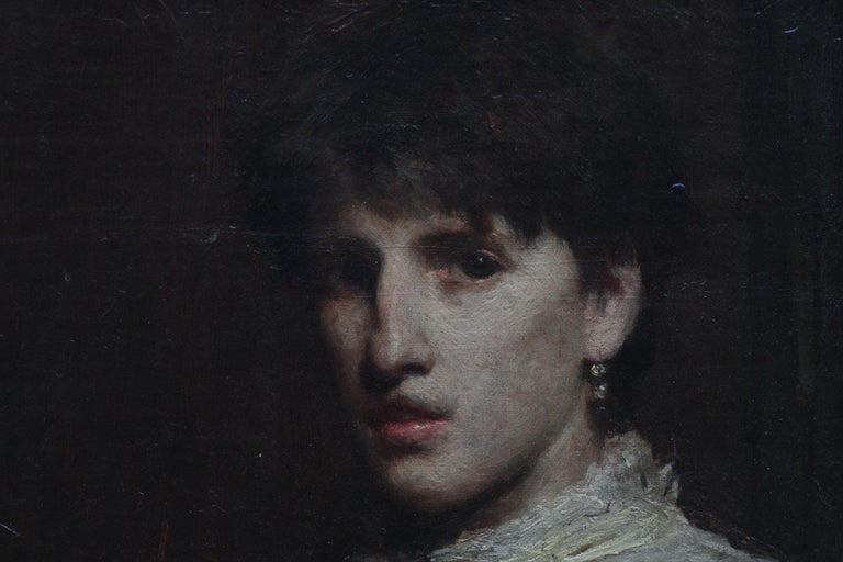 This simply stunning Scottish portrait oil painting dates to 1883 and is indistinctly signed. It has clearly been painted by an exceptional artist as the artistry is superb and circle of Whistler has been suggested as has a self portrait of a