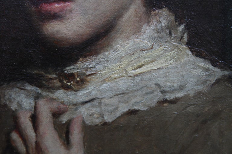 Portrait of a Young Woman with Lace Neckline - Scottish Victorian oil painting For Sale 2