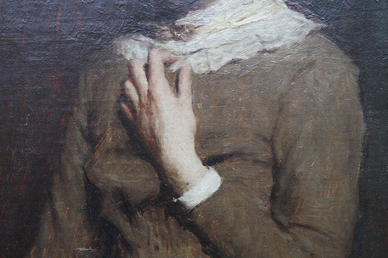 Portrait of a Young Woman with Lace Neckline - Scottish Victorian oil painting For Sale 3