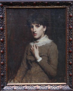 Portrait of a Young Woman with Lace Neckline - Scottish Victorian oil painting