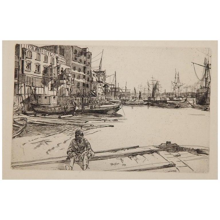 "James Abbott McNeill Whistler Etching, 1959, ""Eagle Wharf"""