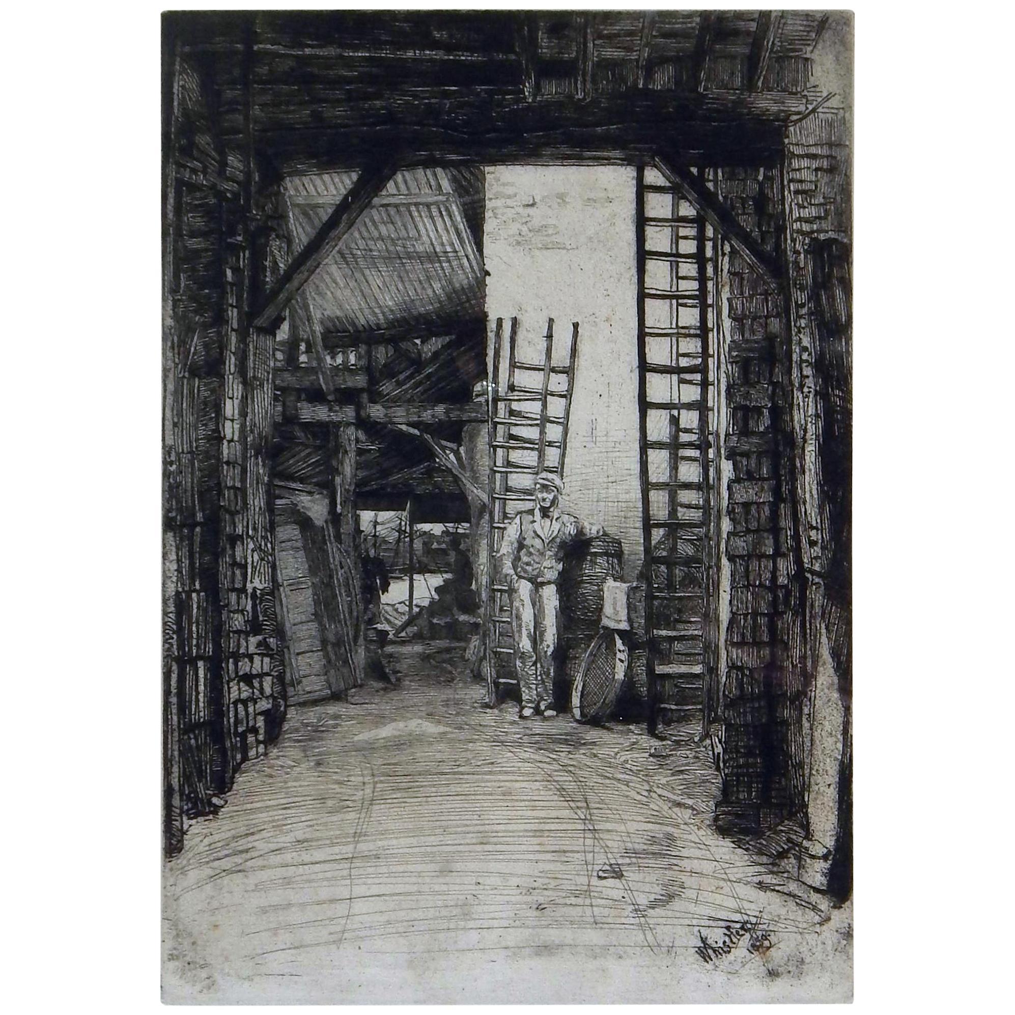 "James Abbott McNeill Whistler Etching & Drypoint, 1859, ""Lime-Burner"""