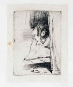 Reading in Bed - Original Etching by J.A.M. Whistler - 1858