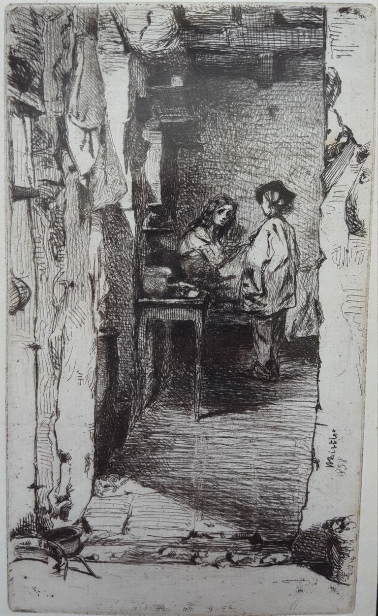 "An original etching and drypoint on watermarked laid paper by American artist James Abbott McNeill Whistler (1834-1903) titled ""The Rag Gatherers"", 1858. The fifth (final) state of five (Glasgow) with margins. Signed and dated in the plate lower"