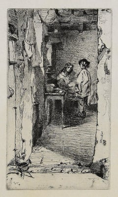 The Rag Gatherers - Original Etching by J.A. Whistler - 1858
