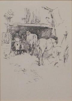 """The Smith's Yard (Levy #126),"" original lithograph by J.A.M. Whistler"