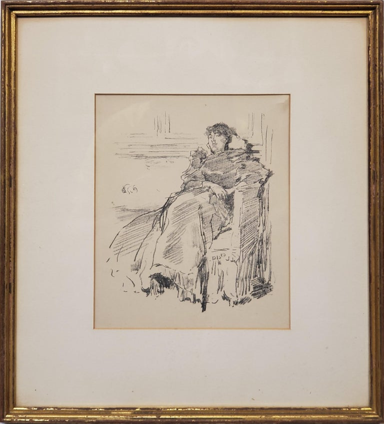 Woman In A Red Dress a Lithograph by James Abbott McNeill Whistler circa 1894.  This Lithograph by James Abbott McNeill Whistler is of a woman in a chair wearing a red dress.   La Robe Rouge / The Red Dress (Way 68, Levy 98). Original lithograph,