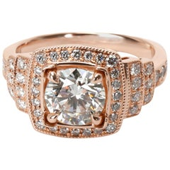 James Allen Halo Diamond Engagement Ring in 14k Rose Gold GIA F VVS2 1.25 Carat